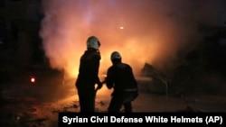 """Сирийские спасатели из группы """"Белые каски"""", январь 2018 года"""