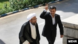 Sadegh Amoli Larijani with Mahmoud Ahmadinejad during his presidency in 2011.