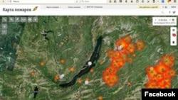 Карта пожаров Бурятии