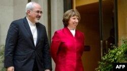 Baronesha Catherine Ashton dhe ministri i Jashtëm iranian Mohammad Javad Zarif.