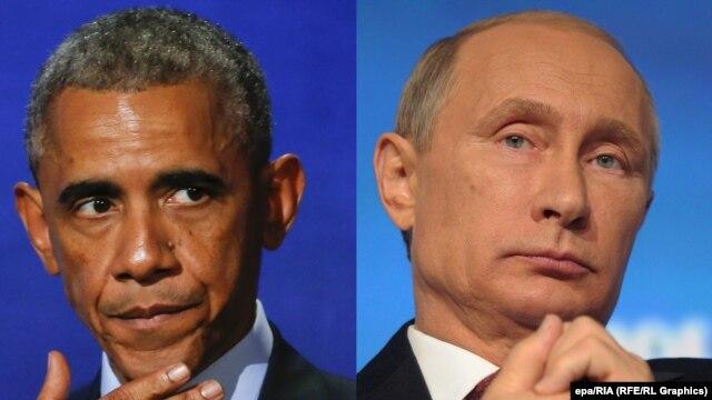Presidente dos EUA, Barack Obama (à esquerda) diz que a parte realmente desafiador é que as ações do presidente russo, Vladimir Putin, como anexar Criméia Península da Ucrânia, são politicamente popular dentro da Rússia.