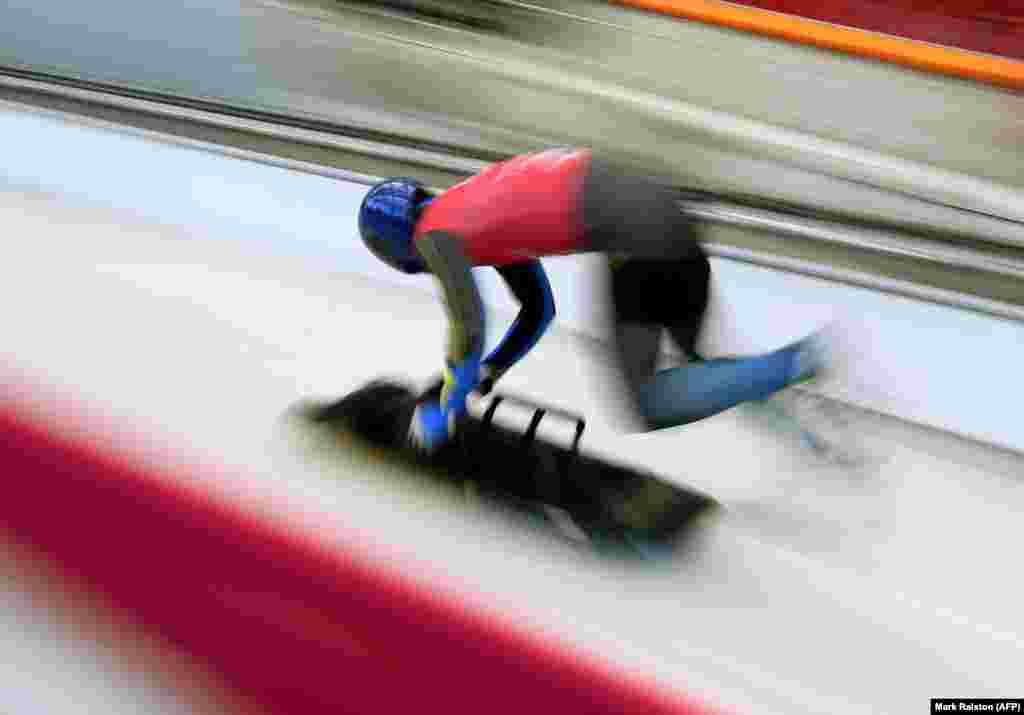 Скелетон: українець Владислав Гераскевич під час тренувань в олімпійському центрі