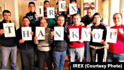 The team of Azerbaijan's Channel 13 TV expresses its appreciation to IREX for helping it buy cameras and other equipment to improve the quality of live streaming. Photo source: www.irex.az