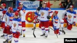 Хоккейден әлем чемпионатының күміс жүлдегерлері Ресей спортшыларының финалда жеңілген соңғы реакциялары. Прага, 17 мамыр 2015 жыл
