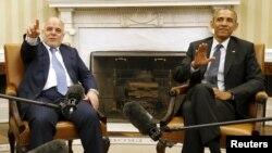 باراک اوباما، رييس جمهوری آمريکا، و حيدر العبادی، نخست وزير عراق.