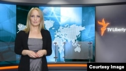 Bosnia--Liberty TV editor and presenter Marija Arnautovic in the studio in Sarajevo.