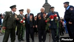Armenia - Armenian veterans of the Second World War in Yerevan's Victory Park, 9May2015.