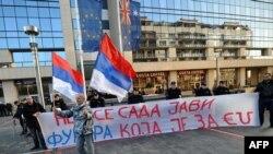 Sa jednog od antievropskih protesta u Beogradu ispred sedišta Delegacije EU, foto iz arhive