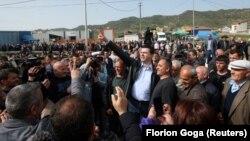 Лидерот на Демократската партија, Љуљзим Баша на денешните протести во Албанија