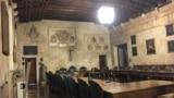 Галоўная заля мэдычнага факультэту Падуанскага ўнівэрсытэту. XIV стагодзьдзе.