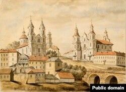 Рынкавая плошча ў Віцебску на малюнку Напалеона Орды, XIX стагодзьдзе