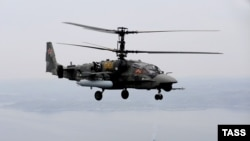 "Russia -- A Kamov Ka-52 ""Alligator"" helicopter, in the Barents Sea, 13Sep2011"