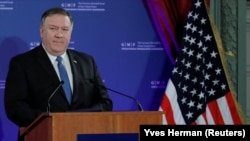 U.S. Secretary of State Mike Pompeo speaks at a conference of the German Marshall Fund in Brussels on December 4.