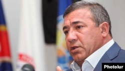 Armenia - Football Federation chief and businessman Ruben Hayrapetian at a news conference in Yerevan.