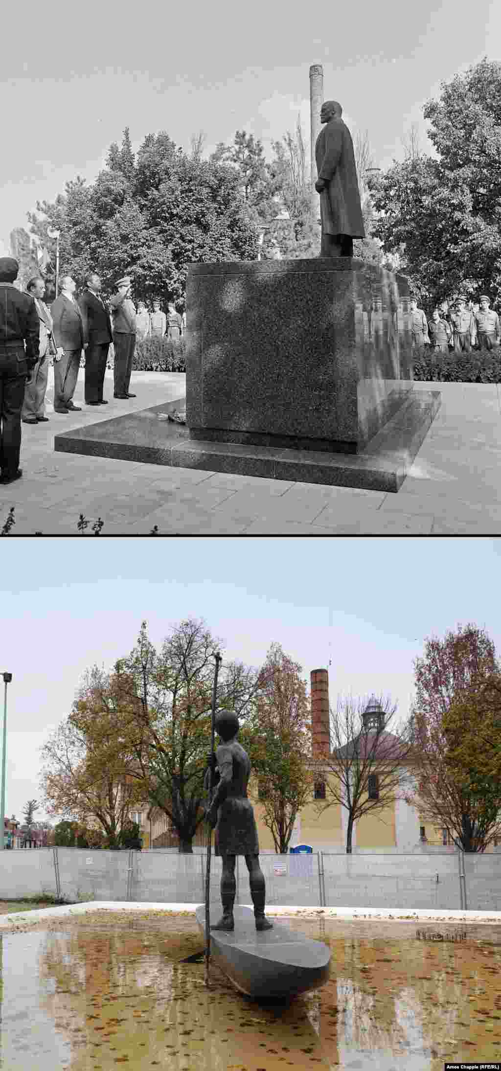 Szolnok 1977-2019 A Lenin monument erected in the 1960s in the eastern town of Szolnok (top). The Soviet leader was replaced with an installation representing a scene from the riverside town's early history. In 2013, the Lenin was photographed lying on his back in an unknown location. The chimney in the background was shortened sometime since the 1970s. 1977 photo: Fortepan/MHSZ