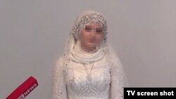"A screengrab of LifeNews's interview with Chechen teenager ""Kheda G.,"" who has married a man around three times her age."