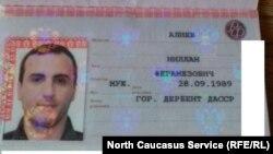 Алиев Нилланан паспорт