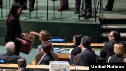 Постоянные члены Совета Безопасности ООН на заседании в Нью-Йорке. 15 октября 2015 года.