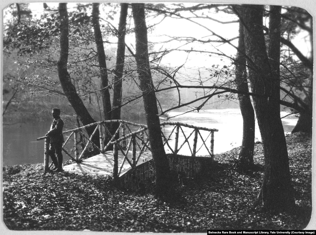 A footbridge at Spala in Poland. During the royal family's 1912 trip here, Tsarevich Aleksei fell while jumping into a rowboat and badly bruised his thigh, triggering internal bleeding that brought the heir apparent to the brink of death.