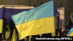 Ukraine -- Pro-ukrainian rally, Donetsk, 17Apr2014