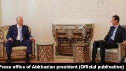 Aslan Bzhania meets Syrian President Bashar Al-Assad in Damascus.