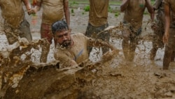 Скокаат во каллива вода за плодна берба ориз