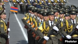 Armenia - Military academy cadets march during a parade in Yerevan.