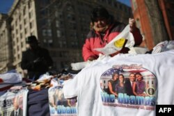 A vendor sells inauguration paraphernalia near the U.S. Capitol in Washington, D.C.