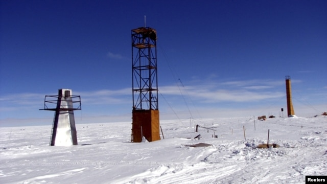 A view of a Russian drilling apparatus at the remote Vostok research station in Antarctica, site of the lowest temperature ever recorded (-91 degrees Celsius).