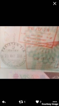 The Iranian and Pakistani immigration stamps on the Pakistani passport the Afghan Taliban leader was allegedly carrying.