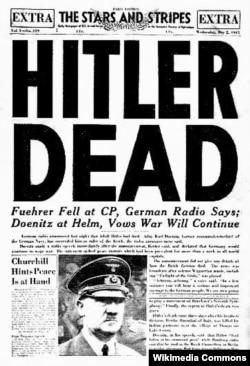 """ABŞ - """"Stars and Stripes"""" hərbi qəzeti Hitlerin öldüyünü yazır, 2 may 1945"""