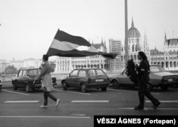 A man wields a Hungarian flag with the communist emblem removed in 1990. A few months earlier, Hungary held its first democratic elections in nearly half a century. Soviet troops left Hungary the following year.