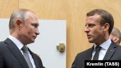 Владимир Путин и Эммануэль Макрон, Париж, 30 сентября 2019