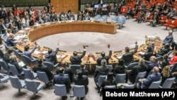 United Nations Security Council vote on a humanitarian draft resolution for Syria, which failed to gain the support of Russia and China, at U.N. headquarters in New York, September 19, 2019