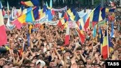 La o demonstraţie a Frontului Popular, Chişinău, iunie 1989