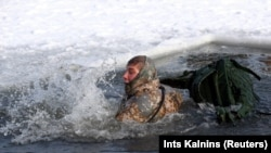 A NATO soldier swims in icy water during a winter survival exercise in Adazi, Latvia. (Reuters/Ints Kalnins)