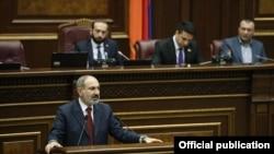 Armenian Prime Minister Nikol Pashinian addressing parliament, March 16, 2020