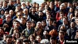 Pamje gjatë protestës së sotme në Stamboll