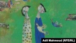 """من لوحة معروضة بإفتتاح قاعة """"ألق"""" للفن التشكيلي ببغداد"""