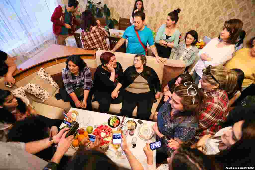 Ismayilova relaxes with her family and friends.
