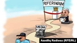 «Ադրբեջանի սահմանադրական հանրաքվեն», քաղաքական ծաղրանկար, հեղինակ` Գունդուզ Աղաև
