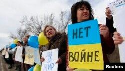 Акція проти вторгнення Росії в Крим у Сімферополі, 6 березня 2014 року