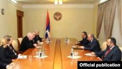 Nagorno Karabakh - Bako Sahakian (C,R), the leader of Nagorno Karabakh, meeting with the OSCE Minsk Group co-chairs in Stepanakert,18Feb,2015