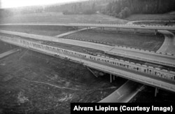 A section of the Baltic Way on the highway linking Latvia and Estonia.