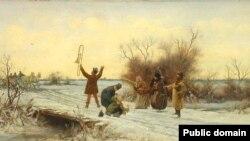 Францішак Штрайт, «Вясковыя музыкі ў дарозе» (1880)