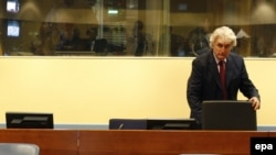 Former Bosnian Serb leader Radovan Karadzic in the courtroom of the International Criminal Tribunal for the former Yugoslavia