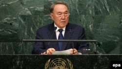 Қазақстан президенті Нұрсұлтан Назарбаев БҰҰ Бас ассамблеясының 70-сессиясында сөйлеп тұр. АҚШ, Нью-Йорк, 29 қыркүйек 2015 жыл.