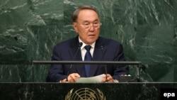 Президент Казахстана Нурсултан Назарбаев на 70-й сессии Генеральной Ассамблеи ООН. Нью-Йорк, 28 сентября 2015 года.