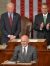 Afghan President Ashraf Ghani (center) is applauded by House Speaker John Boehner (right) and Vice President Joe Biden (left) as he addresses a joint session of Congress at the U.S. Capitol in Washington in March 2015.