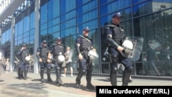 Policija na trgu u centru Beograda, nekoliko sati pred početak Prajda